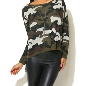 Camo high low sweater from Wetseal